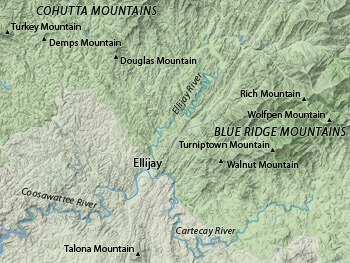 Geological Map of Ellijay, Georgia and the Cohutta and Blue Ridge Mountains, 2012. Topographical data from the USGS.