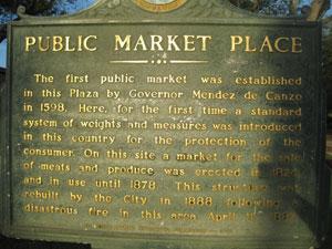 """Figure 17. Holly Goldstein, Marker for """"Public Market Place,"""" Plaza de la Constitución, St. Augustine, Florida, 2012."""