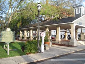 """Figure 18. Holly Goldstein, Marker for """"Public Market Place"""" and Public Market, Plaza de la Constitución, St. Augustine, Florida, 2012."""