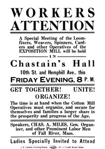 Flyer announcing a strike meeting to occur at Chastain's Hall, 10th Street and Hemphill Avenue, Atlanta, Georgia, 1914. Courtesy of Georgia Tech Archives and Records Management, Fulton Bag and Cotton Mills Digital Collection.