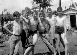 "Ben Duncan, far right, soon after placement in first foster home, with neighborhood boys who were, he writes, ""unfailingly kind and friendly."" West End, Birmingham, Alabama, c. 1939."