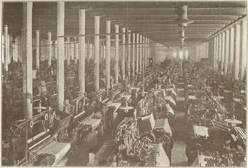 Weaving room in a cotton mill, Columbus, Georgia, from The South and the Building of the Nation, Volume VI: Southern Economic History, The Southern Historical Publication Society, 1909.