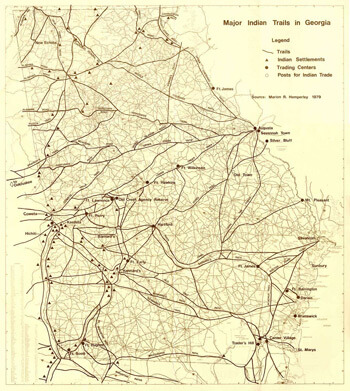 Marion R. Hemperly, Map of Indian trails in Georgia before removal, 1979.