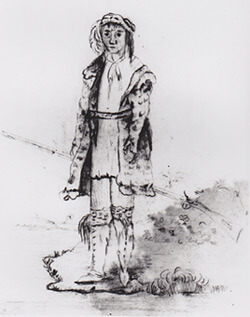Mountain Cherokee (untitled sketch). Ink drawing in the diary of Lt. John Wolcott Phelps, 1838, Tebeau-Field Library of Florida History and the Florida Historical Society, Cocoa, Florida.