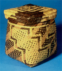 Cherokee basket and lid, double woven of river cane and dyed with walnut, early 1800s, Georgia, Yale Peabody Museum of Natural History.