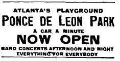 Ponce de Leon Park Advertisement, Atlanta Constitution (May 20, 1907)