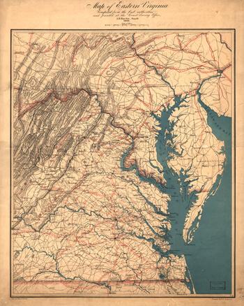 Map of Eastern Virginia, circa 1862