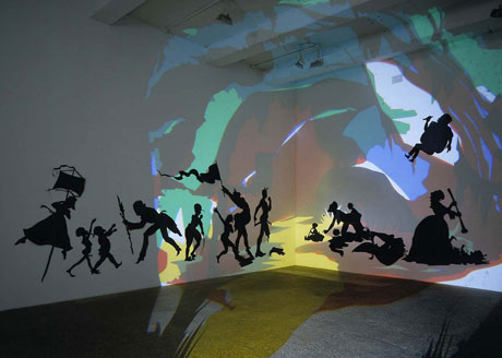 Kara Walker, Darkytown Rebellion, 2001. Cut paper and projection on wall.