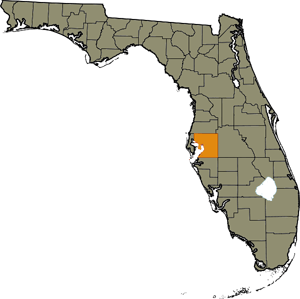 Map of Hillsborough County within Florida