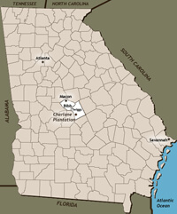 County Map of Georgia highlighting Bibb and Twiggs Counties.
