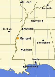 Sarah Toton, Map of U.S. South emphasizing Merigold, Mississippi, 2006.