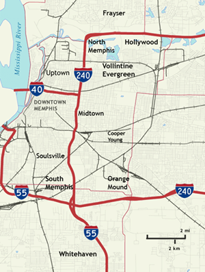 Map of Memphis neighborhoods