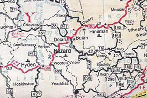John Cohen map, KY, 1959