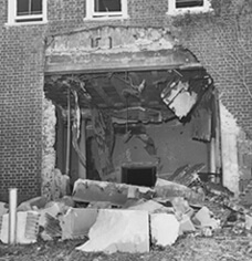 Damage from the Reform Temple bombing, October 1958