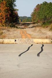 John Howard, Red ruts and black rubber, Henry County, Georgia, November 2008.