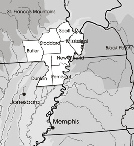 Bruce Moses, Missouri Bootheel map, 2009.