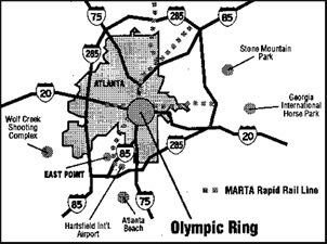 Map of Olympic Ring in downtown and midtown Atlanta, 1996