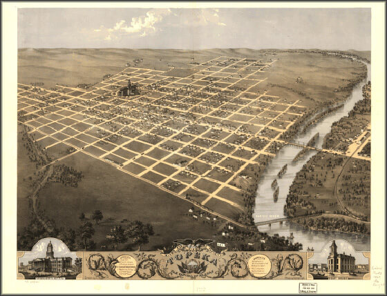 Birdseye view of Topeka, Kansas, circa 1850, Library of Congress American Memory Archive