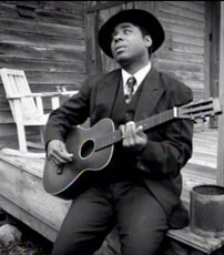 Re-enactment of Blind Willie Johnson in The Soul of a Man, 2003.