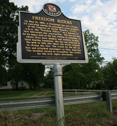 Freedom Riders historical marker outside of Anniston, Alabama, 2009.