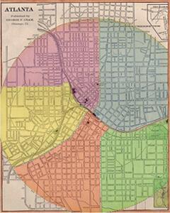 George F. Cram, Layout of Atlanta's Ward System (Fourth Ward in blue), 1874.