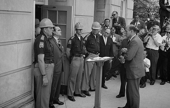 Warren K. Leffler, Governor George Wallace attempting to block integration at the University of Alabama, Tuscaloosa, Alabama, 1963.