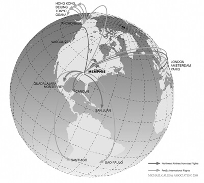 Michael Gallis and Associates, FedEx and Northwest Airlines Routes, 2008.