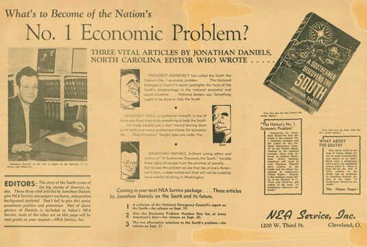 National Enterprise Association (NEA) service promotion, 1938. Jonathan Daniels Papers, Southern Historical Collection, The Wilson Library, University of North Carolina at Chapel Hill.