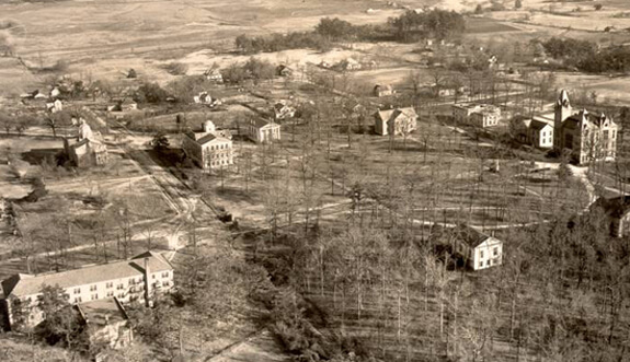 Photographer unknown, Aerial view of Oxford, c.1925. Courtesy, Emory University Archives. EUPIX - Oxford Series, EUP-0014.