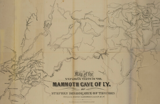Stephen Bishop, Map of Mammoth Cave, Kentucky, 1845.