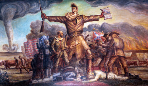 John Steuart Curry's 1941 mural, Tragic Prelude, embodies the Free State narrative.  At thirty-one feet by eleven-and-a-half feet, it hangs in east wing of the Kansas State Capitol, image courtesy of Digital History.