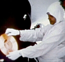 "Scientists load the ""golden record"" onto the spacecraft. The Soul of a Man, 2003."