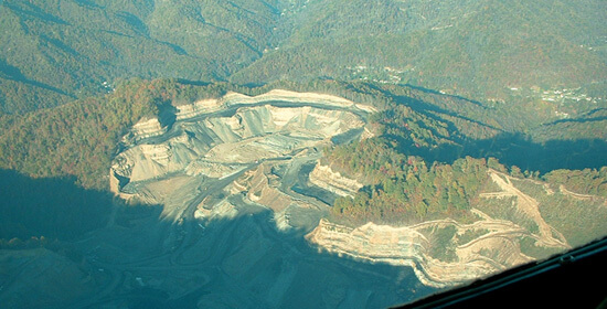Emily Satterwhite, Aerial view of mountaintop removal site, Southern West Virginia, 2005.