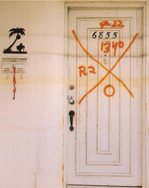 Christina Bray, Successive water lines on door in Lakeview, 2007.