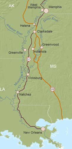 """Map of Mississippi Delta from Charles Wilson's """"Mississippi Delta"""""""