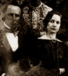 Detail of Pierce Mease and Frances Kemble Butler from a daguerreotype.