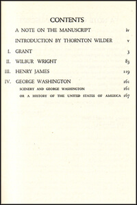 Contents page from Stein's Four in America, 1947