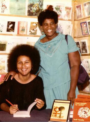 Photographer unknown, bell hooks and Byllye Avery at Charis, Atlanta, Georgia, circa 1985.