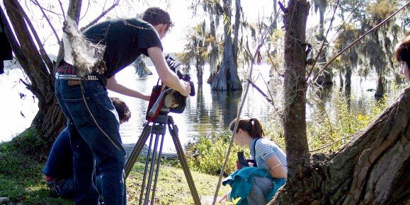 James Peck, Jim Driscoll and Mercer Hathorn shooting for Revisiting Flaherty's Louisiana Story, Lake Martin, Louisiana, 2006.