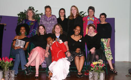 Photographer unknown, Members of Charis's Young Writers group with founder Linda Bryant (back row left), publisher and Charis Circle co-director Kelley Alexander (back row second from left), and writer Merrill Mushroom (back row second from right), Atlanta, Georgia, 2003.