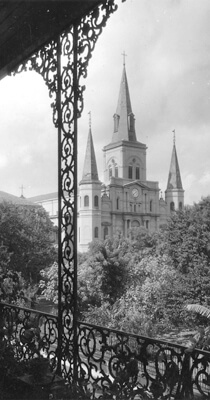 St. Louis Cathedral, Seen from the Pontalba Apartments, from the WPA Guide to New Orleans.