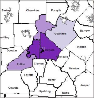 Map 2.  Latino Isolation In Metro-Atlanta: Percentage of Latino Students in Predominately Minority High Schools by District, 1994/1995