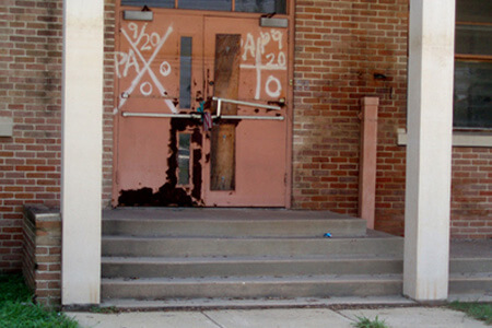 Dorothy Moye, Padlocked parochial school with water lines, Elysian Fields Avenue, 2008