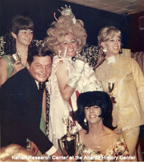 In the mid 1960s, using the stage names Phyllis Killer and Shirley Temple Jones, he became a popular female impersonator. He is pictured here (center) during one of the Miss Joy Lounge pageants. At this time, an Atlanta city ordinance had banned cross-dressing.Photographer unknown, Billy Jones (top center) as Phyllis Killer during a Miss Joy Lounge pageant, Atlanta, Georgia, 1968. Courtesy of the Kenan Research Center at the Atlanta History Center.