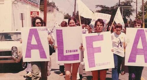 Lorraine Fontana, ALFA members marching in the Atlanta Gay Pride Parade, Atlanta, Georgia, 1973.
