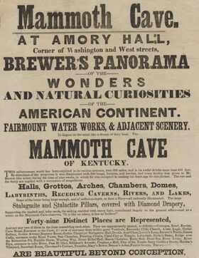 Broadside advertising, George Brewer's Panorama of Mammoth Cave, c. 1849. Courtesy, American Antiquarian Society.
