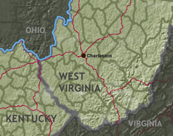 Map of the Central Appalachia region (Base Map Data: US Census Bureau)