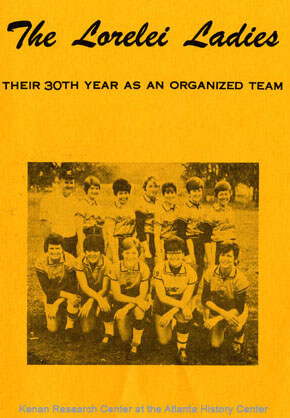 Many women formed same-sex friendships and romantic relationships through softball teams like the Tomboys and the Lorelei Ladies. Programs, such as this one pictured here, were distributed to spectators at the games. Lorelei Ladies program, 1969. Courtesy of the Kenan Research Center at the Atlanta History Center.