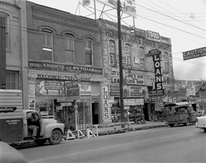 Honest Joe's Pawn Shop, Deep Ellum, 1959, courtesy of the Dallas Public Library