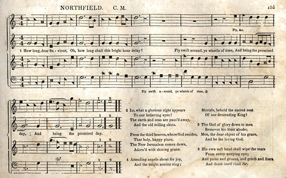 "A page from the 1850 edition of B. F. White's and E. J. King's The Sacred Harp. The title, ""Northfield,"" refers to the tune on which the arrangement is based and not to the lyrics of the hymn. Image courtesy of Emory University Pitts Theology Library."